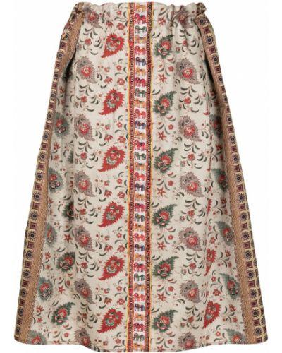 Коричневая хлопковая расклешенная юбка миди Pierre-louis Mascia