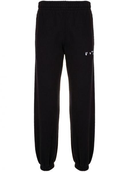 Bawełna czarny spodnie z paskami Off-white