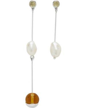 Серебряные серьги-гвоздики с жемчугом Faris