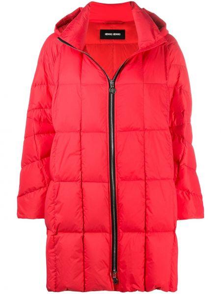 С рукавами красное стеганое пальто на молнии с капюшоном Ienki Ienki