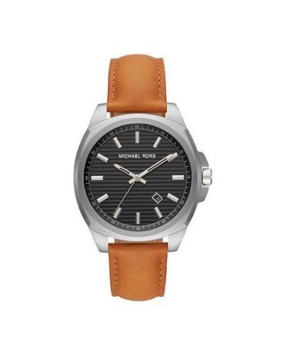 Часы с кожаным ремешком с черным циферблатом кварцевые Michael Kors