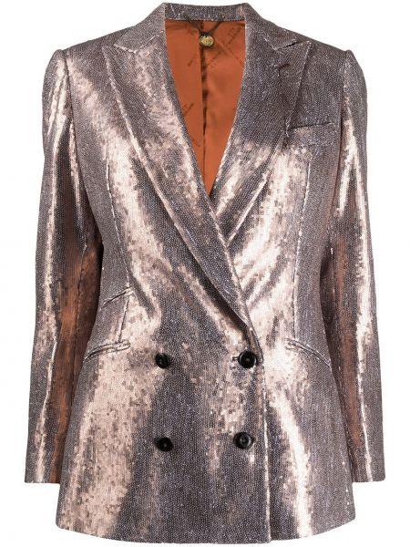 Коричневая свободная куртка с манжетами на пуговицах Maurizio Miri