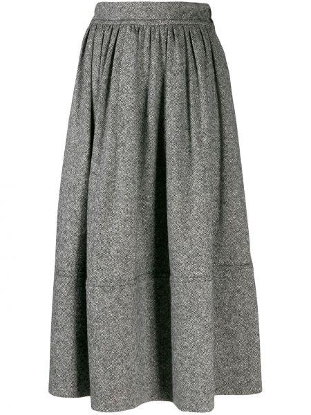 Серая прямая юбка миди на молнии в рубчик Holland & Holland