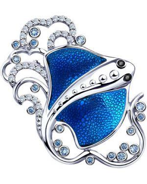 Серебряная брошь с камнями синяя Sokolov