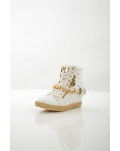 Кожаные белые кроссовки на молнии Keddo