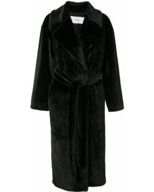 Черное пальто с поясом Le Ciel Bleu