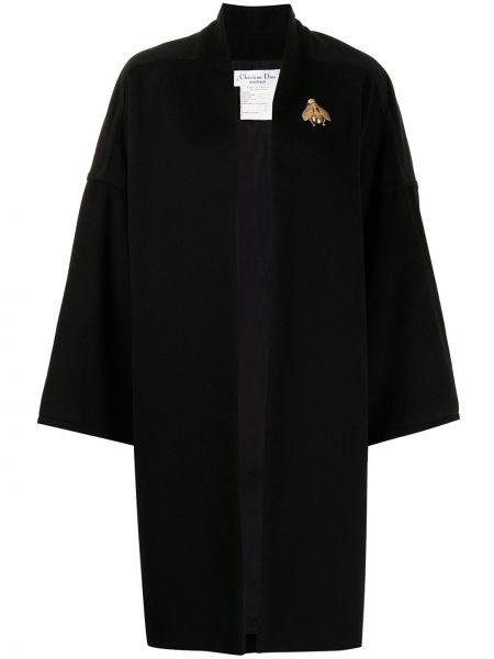 Z kaszmiru czarny długi płaszcz Christian Dior