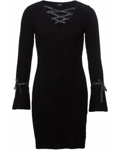 Вязаное платье облегающее на шнуровке Bonprix