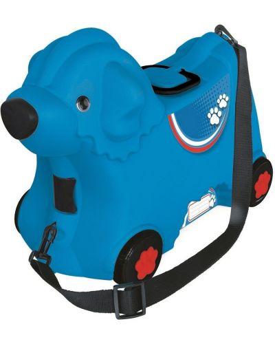 Брендовый с ремешком синий чемодан Big