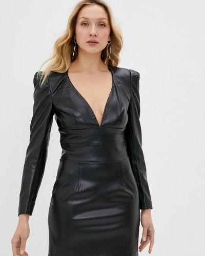 Кожаное черное платье Silvian Heach