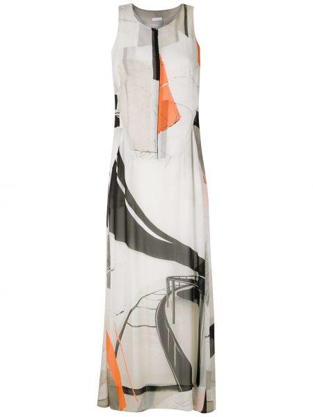 Платье миди с рисунком без рукавов с вырезом из вискозы Osklen