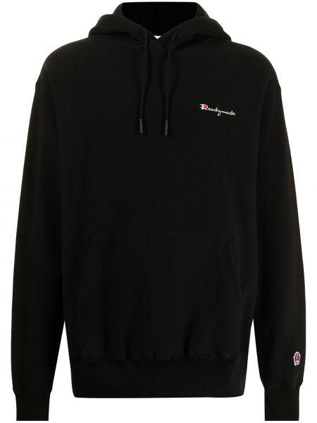 Czarna bluza długa z kapturem z długimi rękawami Readymade