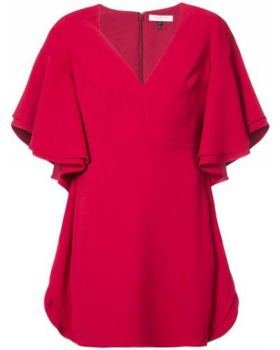 Красное платье с V-образным вырезом Halston Heritage