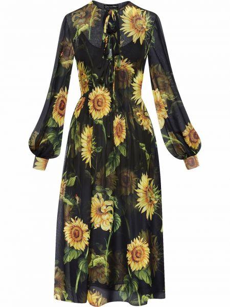 Шелковое платье миди - черное Oscar De La Renta