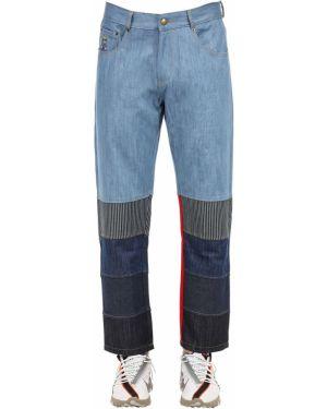 Niebieskie jeansy z haftem skorzane Kidsuper Studios