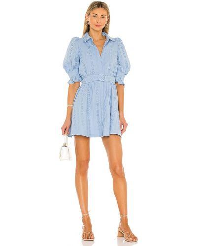 Хлопковое синее платье мини с вышивкой Bardot