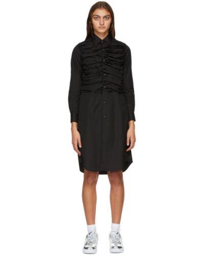 Платье макси из поплина с воротником с длинными рукавами с оборками Comme Des Garçons