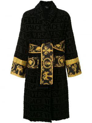 Czarny szlafrok bawełniany z długimi rękawami Versace Home
