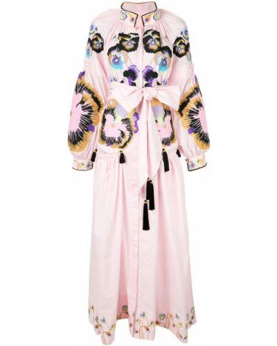 Розовое облегающее платье с вышивкой Yuliya Magdych