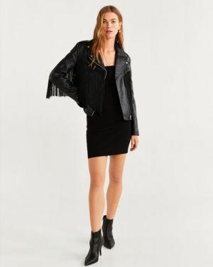 Кожаная куртка черная байкерская Mango