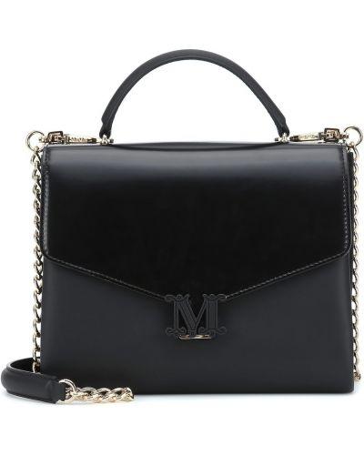 Черная кожаная сумка из натуральной кожи Max Mara