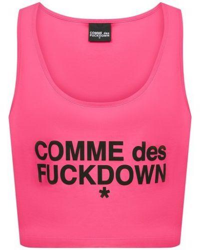 Прямой трикотажный розовый кроп-топ Comme Des Fuckdown