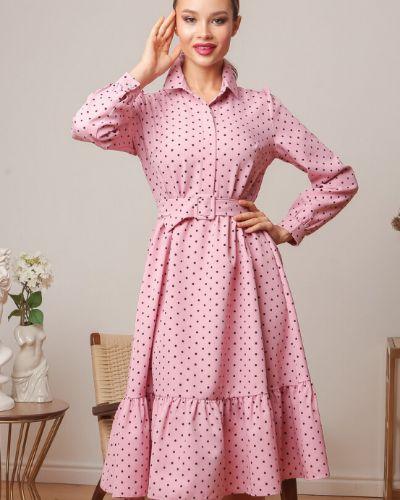 Свободное с рукавами платье с поясом Ellcora