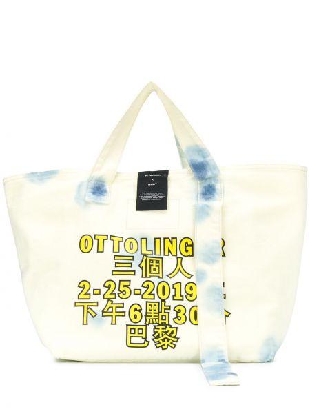 Хлопковая белая сумка-тоут с нашивками Ottolinger