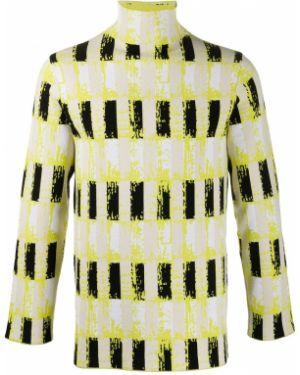 Прямой с рукавами желтый свитер с воротником Namacheko