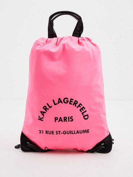 Рюкзак розовый из искусственной кожи Karl Lagerfeld