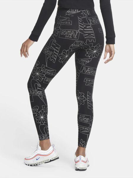 Хлопковые черные спортивные леггинсы с высокой посадкой Nike