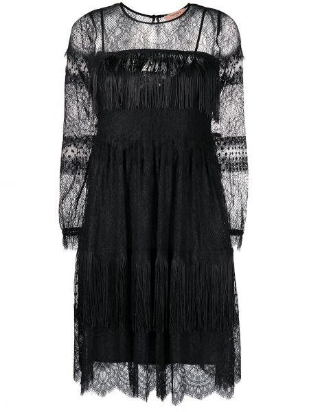 Кружевное черное платье макси с бахромой Twin-set