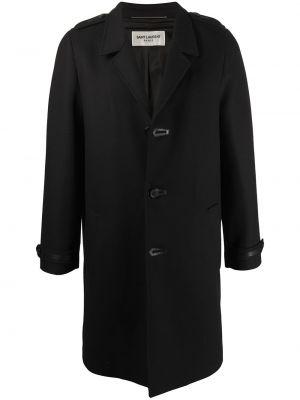 Jednorzędowy wełniany długi płaszcz z kołnierzem z kieszeniami Saint Laurent