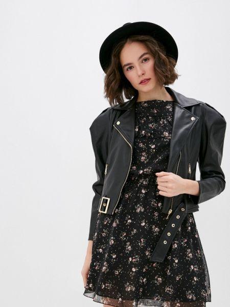 Кожаная куртка - черная Miss Miss By Valentina