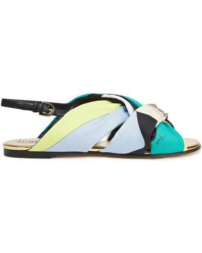 Zielone sandały skorzane klamry Emilio Pucci