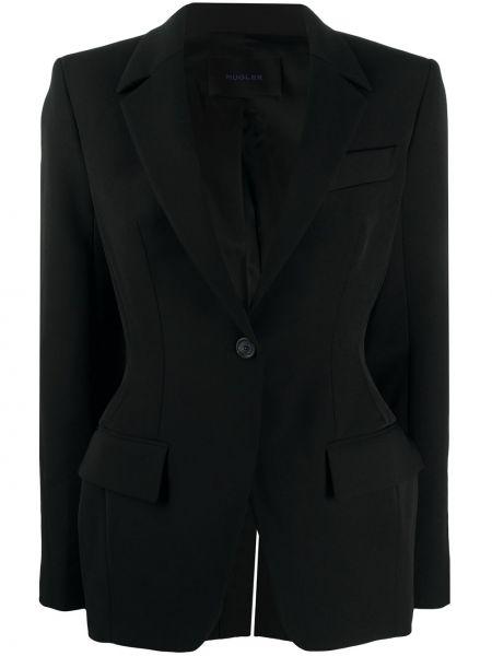 Черный пиджак с карманами на пуговицах Mugler