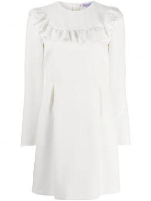 Белое длинное платье с длинными рукавами круглое Redvalentino