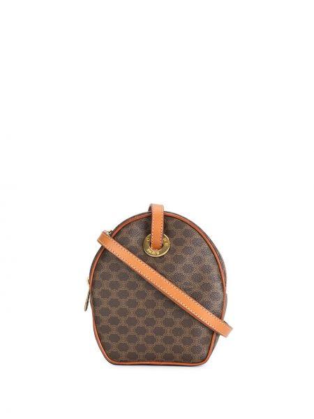 Золотистая коричневая кожаная сумка на молнии с подкладкой Céline Pre-owned
