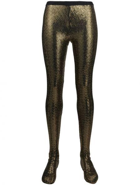 Золотистые желтые колготки с поясом Gucci