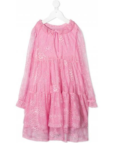 Розовое ажурное платье с рукавами со вставками из вискозы Ermanno Scervino Junior