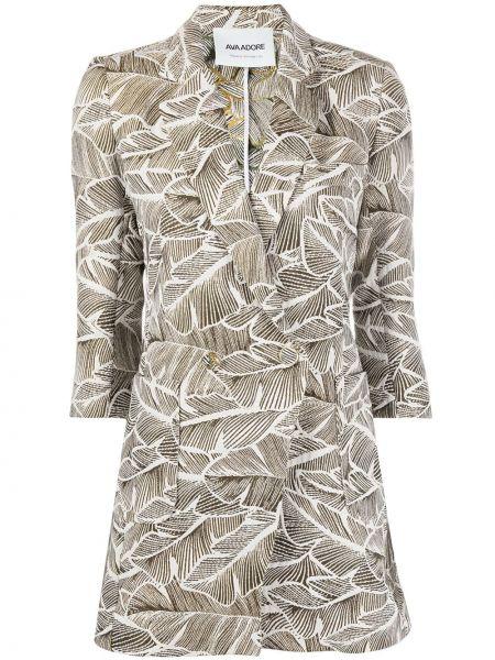 Коричневый пиджак с карманами из вискозы с лацканами Ava Adore