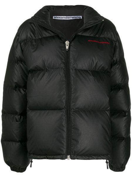 Puchaty czarny długa kurtka z kieszeniami z długimi rękawami Alexander Wang