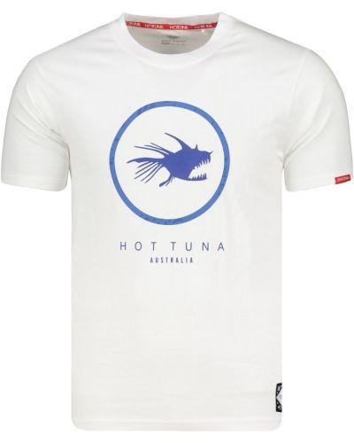 Biały prążkowany t-shirt bawełniany Hot Tuna