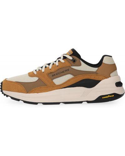Бежевые кожаные кроссовки беговые на шнуровке Skechers