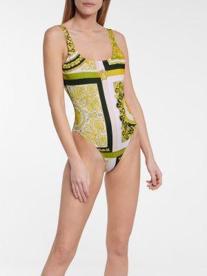 Золотистый пляжный желтый купальник Versace