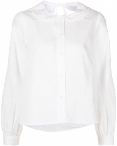 Белая блузка с воротником на пуговицах Sandy Liang