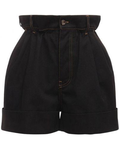 Черные с завышенной талией шорты с карманами Miu Miu