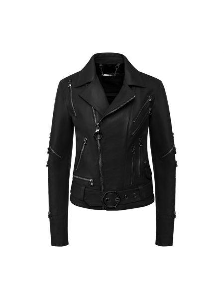 Кожаная куртка черная джинсовая Philipp Plein