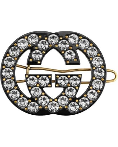 Złote klipsy - czarne Gucci