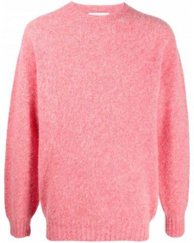 С рукавами шерстяной прямой розовый джемпер Harmony Paris